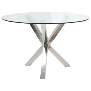 Contemporary Glass Dining Table with Stainless Steel Base