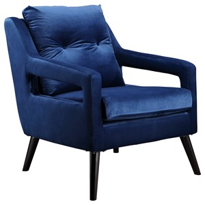 Contemporary Chair with Cut Out Arms in Blue
