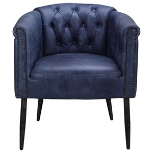 Transitional Blue Leather Arm Chair with Nailheads