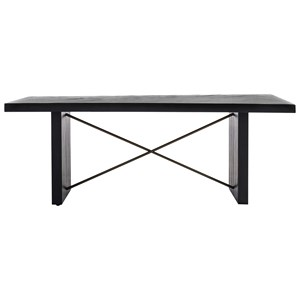 Contemporary Dining Table with Metal Stretcher Detail