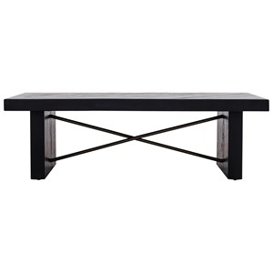 Contemporary Coffee Table with Metal Stretcher Detail