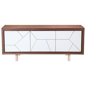 Trapeze Sideboard with Metal Inlay