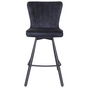 Transitional Blue Counter Stool with Metal Legs