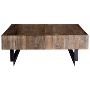Rustic Industrial Coffee Table with Sliding Top