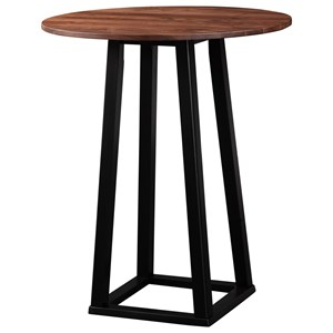 Industrial Bar Table with Solid Wood Top