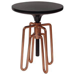 Industrial Adjustable Stool with Copper Hairpin Legs