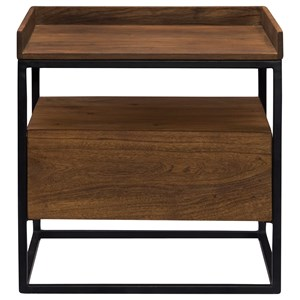 Industrial 1-Drawer Side Table with Iron Frame