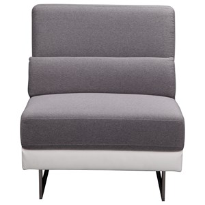 Contemporary Two Tone Slipper Chair with Stainless Steel Legs