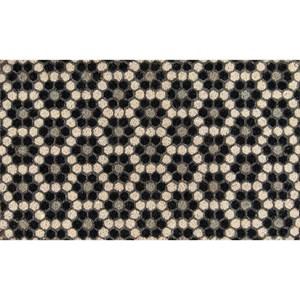 """Black Hex Tile 1'6"""" x 2'6"""" Rug"""