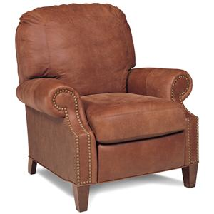 Casual Recliner with Rolled Arms and Tapered Feet