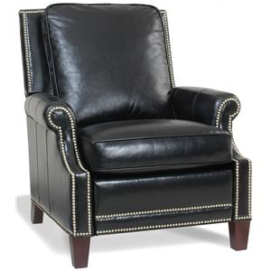 Transitional Push Back Recliner with Nailhead Trim