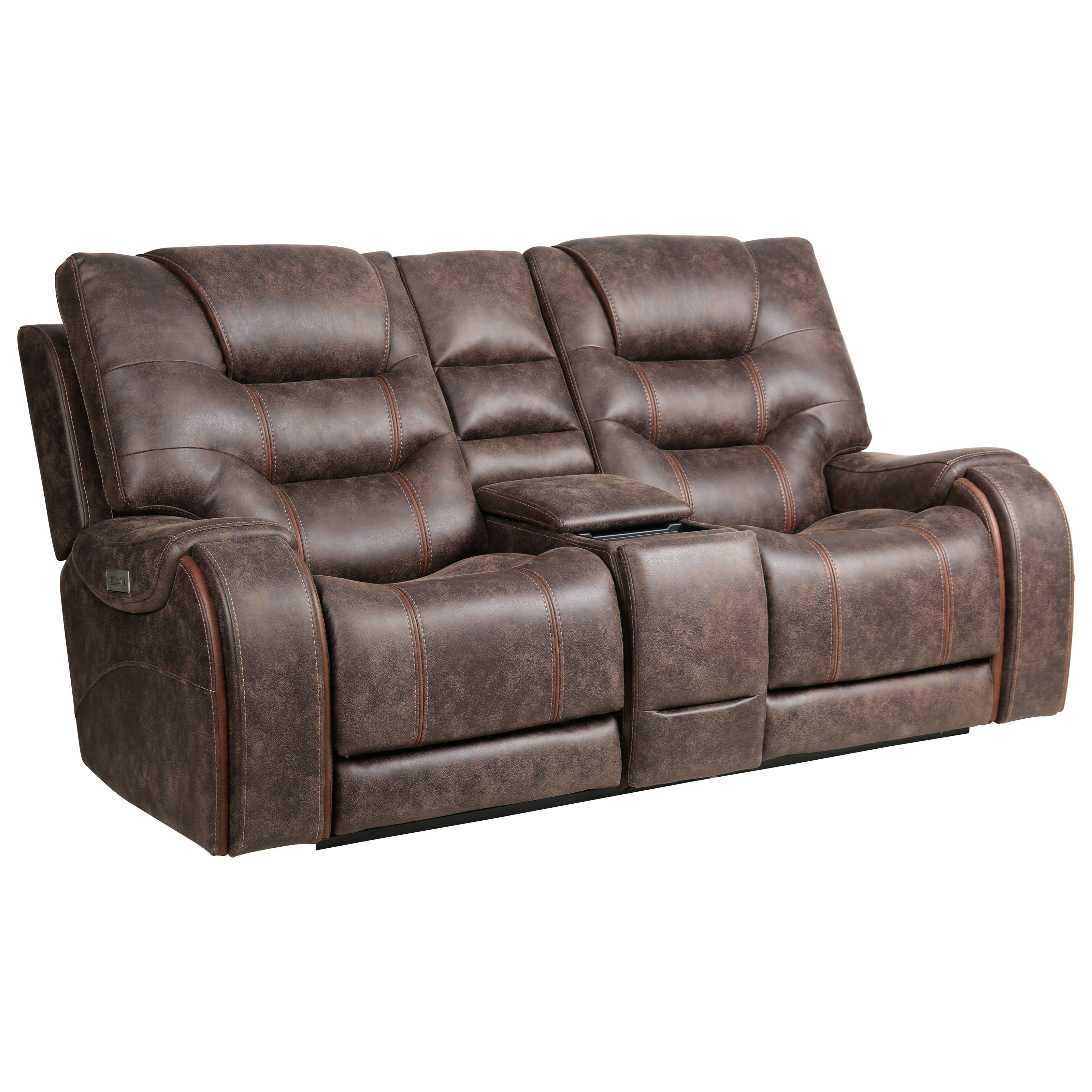 Warehouse M Power Reclining Console Love w/ Pwr Headrest by Moto Motion at Pilgrim Furniture City