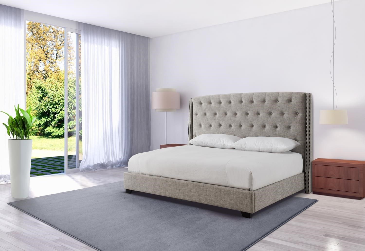 Christina Sandstone Queen Size Upholstered Bed by Mount Leconte Furniture at Darvin Furniture