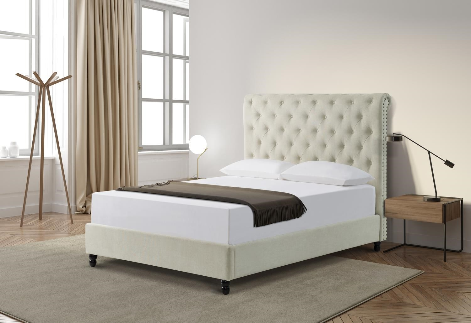 Giles Taupe Queen Size Upholstered Bed by Mount Leconte Furniture at Darvin Furniture