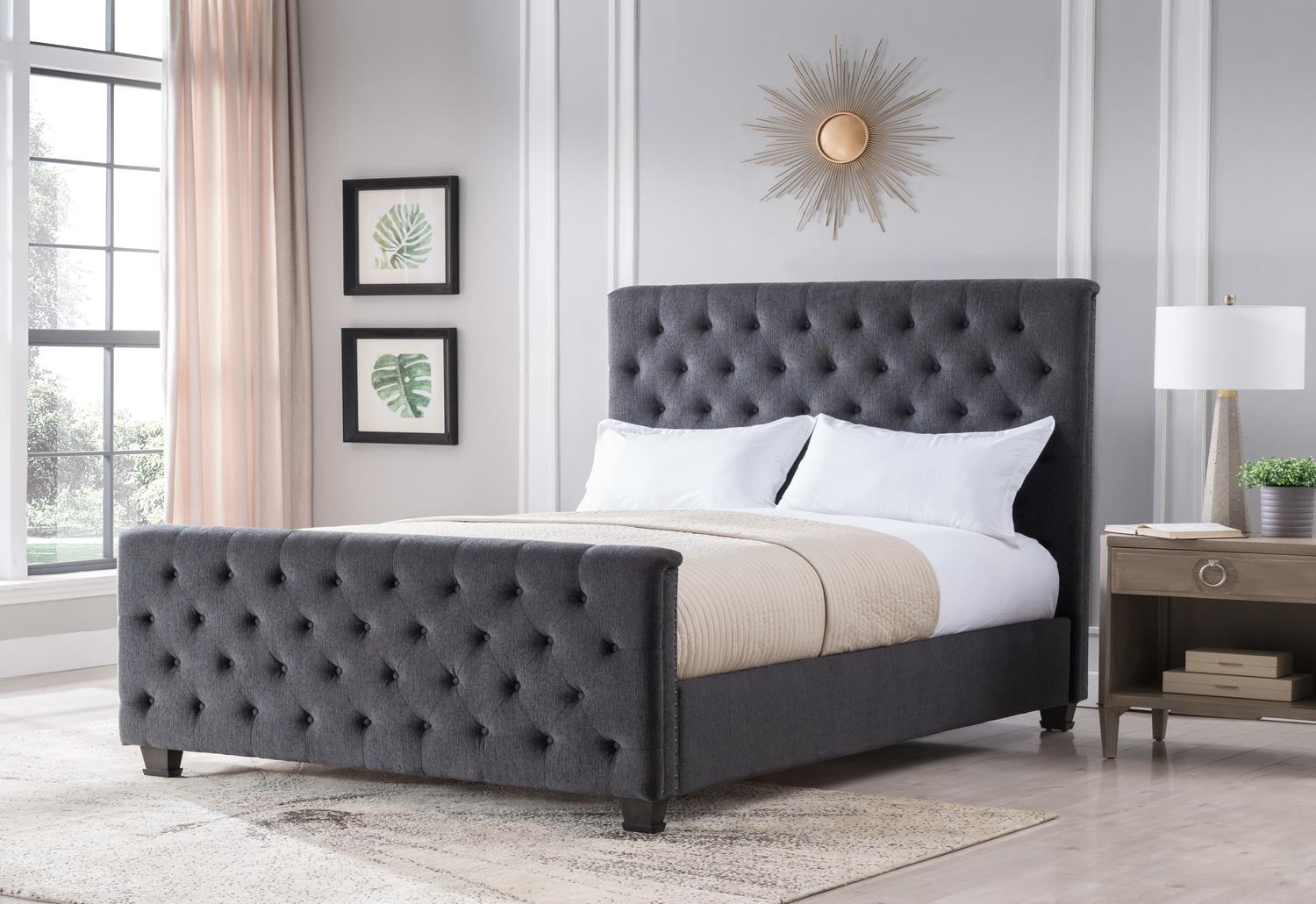 Michelle Charcoal King Size Upholstered Bed by Mount Leconte Furniture at Darvin Furniture