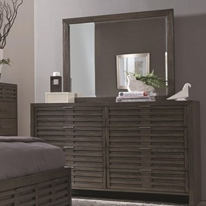 Contemporary 8 Drawer Dresser and Mirror