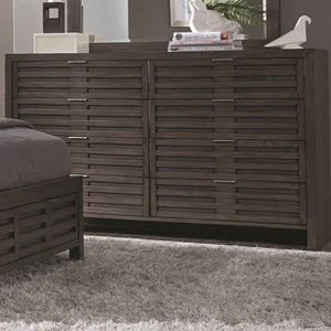 Contemporary 8 Drawer Dresser with Brushed Chrome Hardware