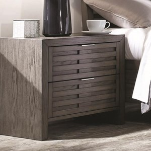 Contemporary 2 Drawer Night Stand with Brushed Chrome Hardware