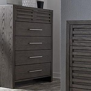Contemporary 5 Drawer Chest of Drawers with Jewelry Tray and Hidden Mirror