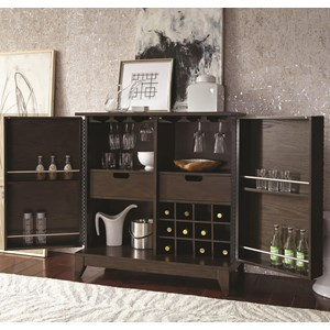 Contemporary Bar Cabinet with Wine Bottle and Stemware Storage