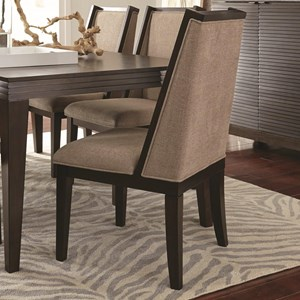 Upholstered Dining Chair with Contemporary Wing Back