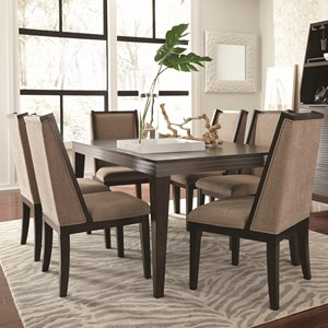 Contemporary Seven Piece Dining Set with Removable Table Leaf