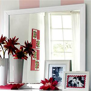 Square Mirror with White Frame and Crown Moulding