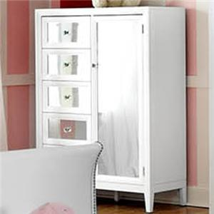 5 Drawer Chest with Mirrored Door and Reversible Drawer Front Panels