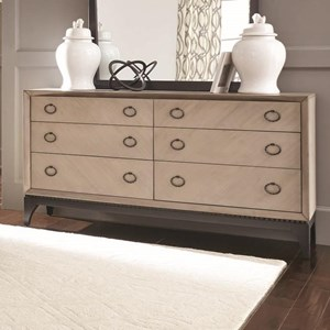 Transitional Six Drawer Dresser with Two Tone Gray Finish