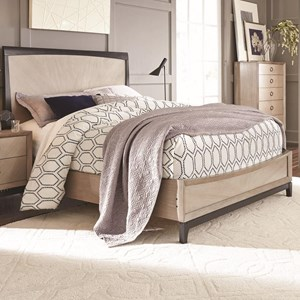 Transitional Queen Platform Bed with Two Tone Gray Finish