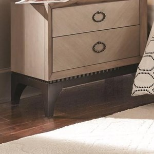 Transitional Two Drawer Nightstand with Two Tone Gray Finish