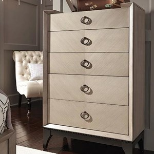 Transitional Chest of Drawers with Lift Top Mirror and Jewelry Tray