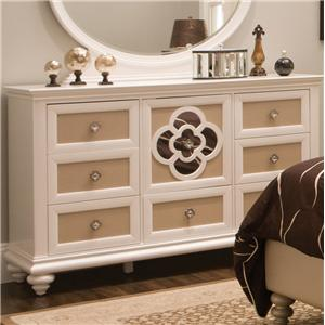 Seven Drawer Dresser with Reversible Drawer Panels and Reflective Inserts