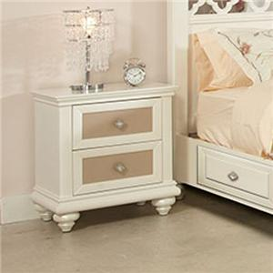 Two Drawer Nightstand with Reversible Drawer Panels