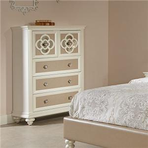 Chest of Five Drawers with Reversible Drawer Panels and Reflective Inserts