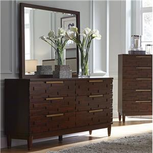Contemporary Dresser with Rose Gold Hardware and Mirror Set