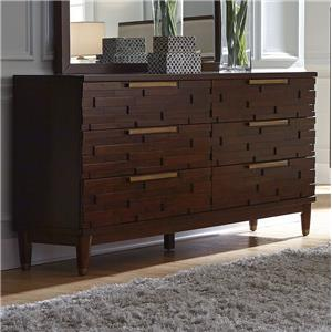Contemporary Six Drawer Dresser with Rose Gold Hardware