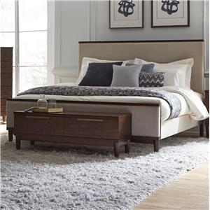 Queen Bed with Leather-Like Upholstery