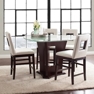 Five Piece Counter Height Dining Set with Crackled Glass Table and Upholstered Chairs