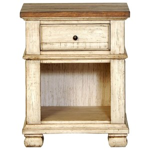 1 Drawer Night Stand with Open Compartment