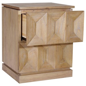 2 Drawer Night Stand with Concave Drawer Front Detailing
