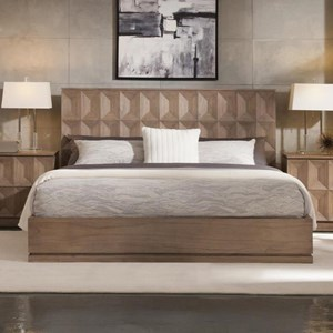 Queen Platform Bed with Geometric Headboard