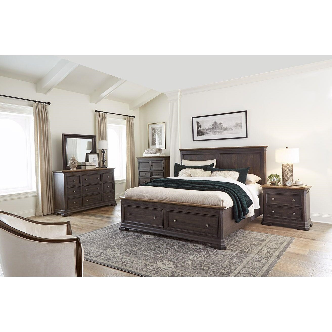The Grand Louie Queen Bedroom Group by Harris Furniture at Powell's Furniture and Mattress