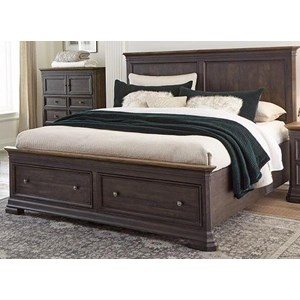 Traditional King Low Profile Bed with Footboard Storage