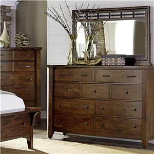 Solid Mango 9 Drawer Chest & Mirror