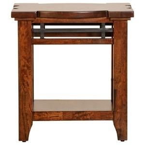 Solid Mango Chairside Table with Shelf