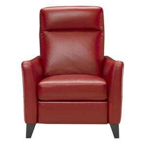 Upholstered Chair with Padded Headrest, Lumbar Support, and Exposed Wood Feet