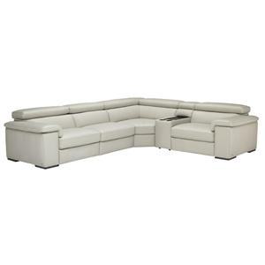 5 Piece Contemporary Power Reclining Sectional Sofa with Console