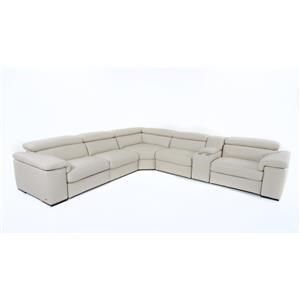 Six Piece Power Reclining Sectional with Cupholders and Adjustable Headrests