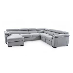 Contemporary Leather Sectional Sofa with LAF Chaise and RAF Power Recliner